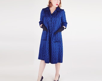 50s Royal Blue and Black Jacquard Coat M L
