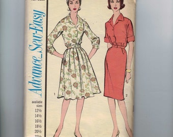 1960s Vintage Sewing Pattern Advance 3373 Misses and Womens Dress with Slim or Full Skirt Half Size 22 1/2 Bust 43 60s UNCUT