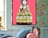 Kwan Yin Female Buddha Poster DIY Print Instant Digital Download Art Quan Kuan Modern Shrine Wall Decor Gold Rose Pink Black White All Sizes