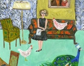 Flannery at home in Andalusia.  limited edition print of an original oil painting by Vivienne Strauss.