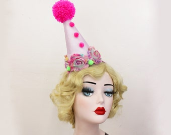 Clown Hat, Hot Pink, Lime Green, Halloween Costume, Birthday Party Hat, Burlesque Headpiece, Theatrical Costuming, Circus Costume
