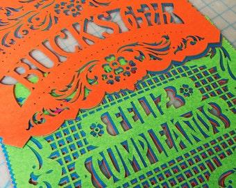 Feliz Cumpleanos - Happy Birthday - Personalized Papel Picado - Sets of 2 banners - Custom Color