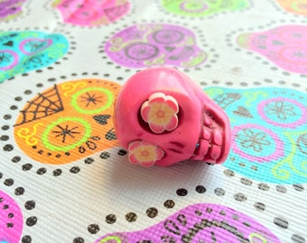 Gigantic Pink Howlite Skull Bead or Pendant  with Fun Flower Eyes