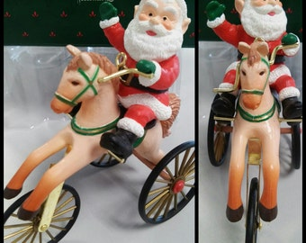 1988 The Wonderful Santacycle - old fashioned Santa, tricycle horse bike, functional, Hallmark Keepsake, Christmas  ornament, figurine & box