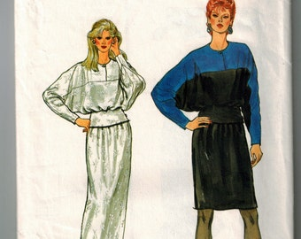Vintage 70s Misses Top and Skirt Sewing Pattern Bust 34 36 38 Blouson Pullover Top Contrast Yokes Straight Long or Short Skirt Elastic Waist