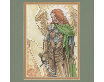 Guide My Blade ORIGINAL ART Double Matted Female Warrior Guardian Angel Knight Seraphim in Armor with Sword