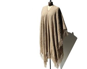 Vintage Dromedary Camel Wool & Mohair Blanket Poncho Cape
