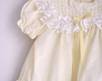 Vintage toddler girls dress Polly Flinders yellow easter dress 12 to 18 months