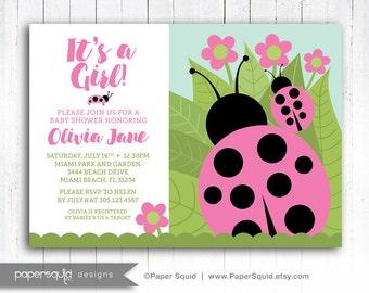 Ladybug Baby Shower Invitation, Ladybug Invitation, COLOR OPTIONS Ladybug Invitaiton, Customized Printable Digital File, Item 193 Papersquid