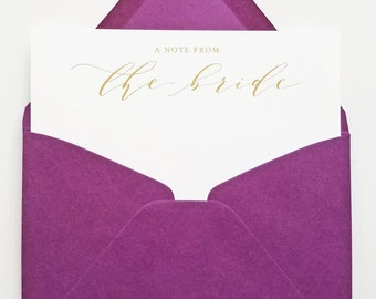 A note from the bride...  Note Cards - Calligraphy Script Gold Hot Foil Stamped Thank You Cards, Newlywed Stationery