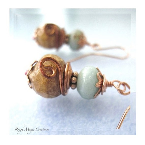 Blue Green Earrings. Peruvian Opal Gemstones. Natural Wood. Carved Wooden Beads. Rustic Copper. EcoFriendly Organic Boho Jewelry