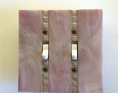 Mauve Iridescent Wall Plate, Pink Stained Glass, Lavender Toggle Switchplate, Double Switch Plate, Decorative Glass Switch Cover, 8300