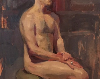 """Art Painting Portrait """"Nude with Silver Rings no.2"""" Original oil by Sarah Sedwick 14x18"""