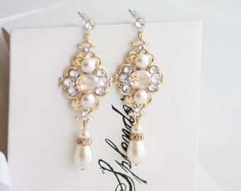 Gold Wedding Earrings Golden Shadow Crystal Bridal Earrings Champagne Crystal Earrings Pearl Earrings LEILA