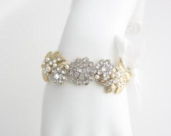 Gold Bridal Bracelet Ribbon Wedding Bracelet Gold Leaf Bracelet Swarovski Crystal Wedding Bracelet Gold Wedding Jewelry MIER RIBBON