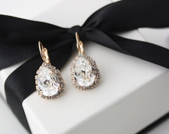Rose Gold Earrings Crystal Teardrop Earrings Swarovski Crystal Bridal Earrings Simple Bridal Earring Halo Wedding Jewelry DROP Z15