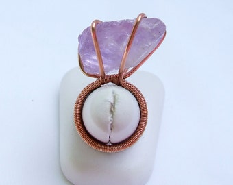 Raw Amethyst Ring, Natural stone jewelry, Copper amethyst ring, ring size 6, birthstone jewelry