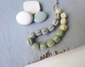 melon round  glass beads light  mix ,  lampwork  wavy rustic beads , gritty aged look , indonesian  -  8 to 9mm  / 16 pcs - 6a8