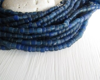 blue seed Beads, blue glass beads , translucent small tube barrel spacer , indonesia,  New Indo-pacific 3 to 6mm / 22 inch strd - 6BB1-50