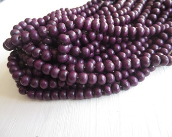 mini purple  round wood beads , painted dark purple  , finished wood ,  wooden beads, exotic natural material Indonesian  , 70 beads  5A21-2