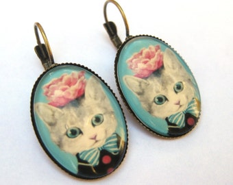 Cat Earrings Lever Back Glass Dome Earrings - Pink Flower Bow Tie Kitty