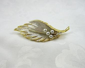Vintage BSK Brooch Rhinestone Faux Pearl Leaf