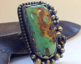 Hachita Turquoise Ring Sterling Silver With Hessonite Garnet - Size 7