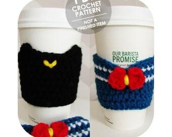 crochet pattern - sailor moon coffee cup sleeve - 2 patterns in 1 - crochet coffee sleeve - coffee cozy - kawaii anime