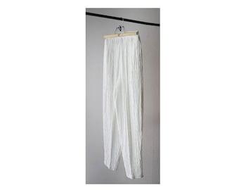 1990's Sheer White Wrinkle High Waist Pants