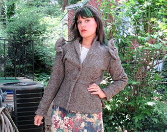 1960s Vintage Neiman Marcus Wool Coat Textured Brown with Leather Buttons Ruffle Shoulder Slit Sides Cropped Jacket Size Small