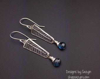 Silver long dangle earrings, Long Oxidized Silver, dark blue stone, flawless London Blue Topaz