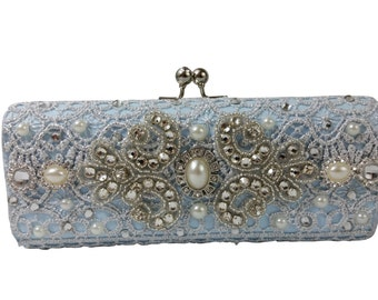 Something Blue Wedding Clutch Bag .. Blue and Silver Bridal Bag .. Wedding Bag .. Bridal Accessories .. FREE Shipping Worldwide