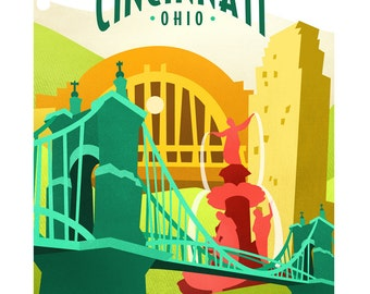 CINCINNATI - 8x10 Art Print by Geri Shields