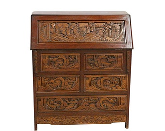 Vintage Chinese Desk Hand Carved, Drop Down Front, Retro Bohemian Decor