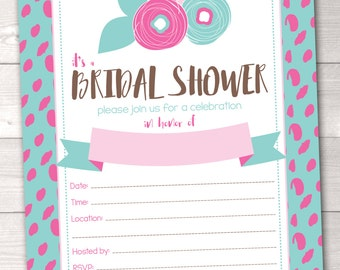 Instant Download Bridal Shower Invitation Aqua Blue & Pink Spotty Dots and Flowers Printable PDF