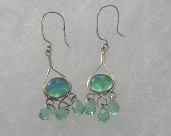 Pretty Sterling Silver Aquamarine Cabocbon & Briolette Drop Earrings