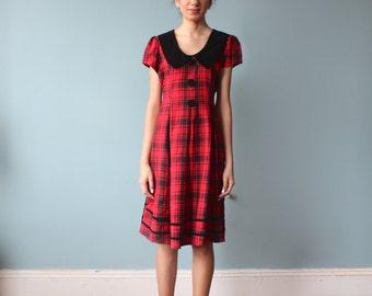 red plaid babydoll dress / black velvet party dress / 1990s / small