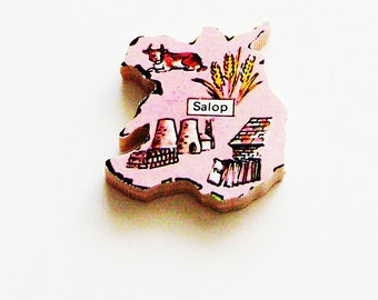 1960s Salop England Brooch - Pin / Unique Wearable History Gift Idea / Upcycled Vintage Wood Jewelry / Timeless Gift Under 25