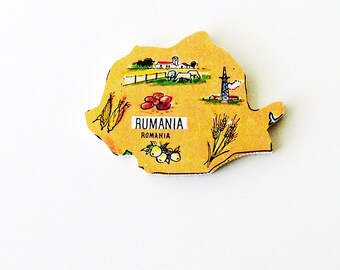 1960s Rumania - Romania Brooch - Pin / Unique Wearable History Gift Idea / Upcycled Vintage Hand Cut Wood Jewelry / Timeless Gift Under 50