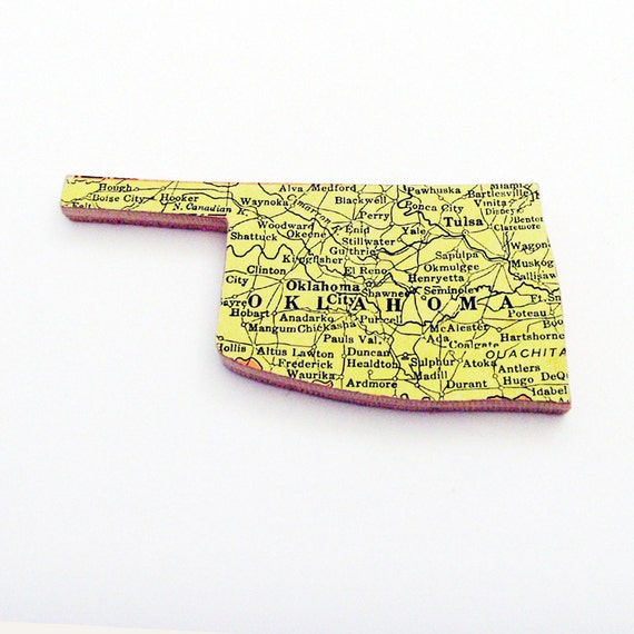 Oklahoma Brooch - Lapel Pin / Unique Wearable History Gift Idea / Upcycled 1940s Straus Wood Puzzle Piece / Timeless Gift Under 25