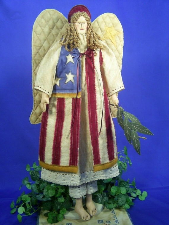 Mailed Cloth Doll Pattern- 23in Folkart Americana 4th of July Angel