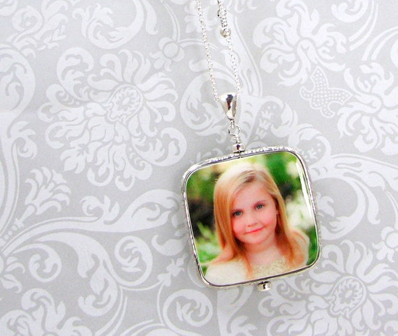 Sterling Framed Photo Tile Pendant Necklace - Large with Rounded Corners - FP1FRfN