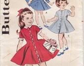 Vintage Pattern Butterick 9248 Girls' Princess Coat and Dress 60s Size 2