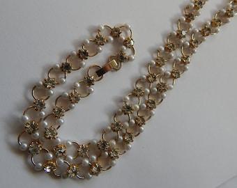 Dainty White Bead and Rhinestone Link Choker -