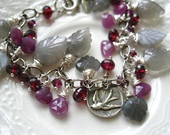 Gemstone Charm Bracelet-Sterling Silver and Gemstone Briolette Bracelet