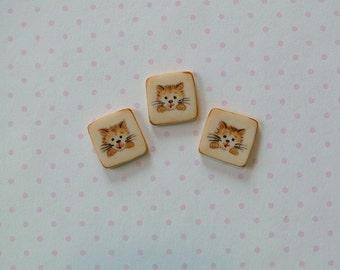 Rusty Kitty Button set of 3
