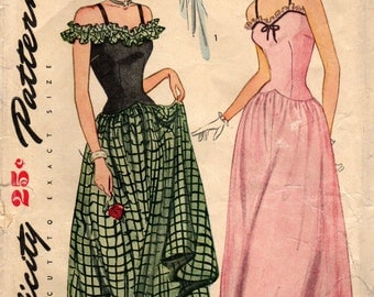 1940s Simplicity 1453 Vintage Sewing Pattern Misses Evening Dress, Formal Gown Size 12 Bust 30