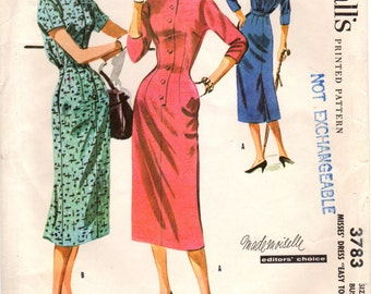 1950s McCall's 3783 Vintage Sewing Pattern Misses Dress Size 14 Bust 34