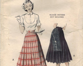 1950s Butterick 6274 Vintage Sewing Pattern Misses Pleated Skirt Size Waist 26