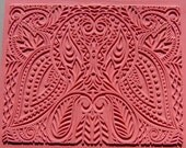 Flexible Rubber Stamp Mat, Hand Drawn Image with Reflective Symmetry, Deep Clean Impression, Over Sized 7 x 9, Intaglio Pattern Paisley